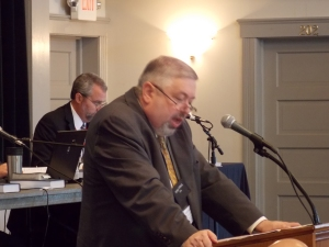 Rev. Alan Strange at the URCNA Synod 2012, which accepted the OPC's invitation to cooperate in producing a new songbook