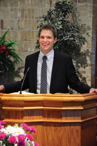 Rev. Jeremy Veldman during his installation at Covenant URC in Kalamazoo in February of 2013.