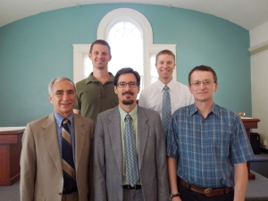 L to R, front: Elder Tom Phillips, Rev. Jody Lucero, Elder Tom Deatsch; back: Deacons Tim Ives and Cody Ellens
