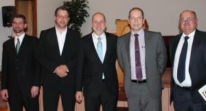 Rev. Chris Folkerts, Nick Smith, Jonathan Van Hoogen, Joel Van Hoogen, and David Booth