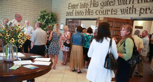 Gathering for worship at Phoenix URC