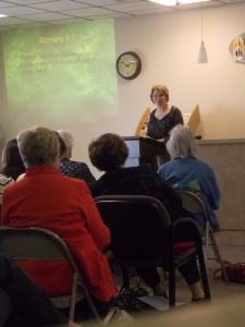 Speaking to a womens group at a church in the Illiana area