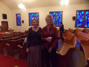 Meeting my mom's cousin, Wilma, at Immanuel URC in DeMotte, IN.