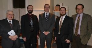 L-R: Elder John Deliyannides, Dr. Peter Wallace, Dr. Richard M. Gamble, Rev. Everett Henes, and Dr. Darryl G. Hart; Photo taken by Rev. Glenn Jerrell