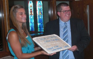 Cortanie Nederhoff's profession of faith celebration with Rev. Nuiver